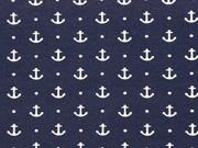 Jersey Anker Punkte, weiß dunkelblau