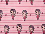 Jersey Mädchen Streifen Digitaldruck, rosa