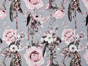 Jersey Rosen  Traumfänger Digitaldruck, rosa grau