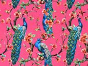 Jersey Pfaue Blumenzweige Digitaldruck, petrol pink