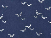 Baumwollstoff Möwen Vögel, weiß dunkelblau