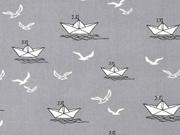 Baumwollstoff Papierschiffchen, weiß grau