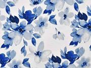 Viskosejersey Blumen Blätter Digitaldruck, jeansblau weiß