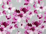 Viskosejersey Blumen Blätter Digitaldruck, beere grau