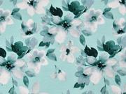 Viskosejersey Blumen Blätter Digitaldruck,petrol mint