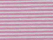 Jersey Streifen 3 mm, rosa weiß
