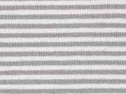 Jersey Streifen 3 mm, hellgrau weiß