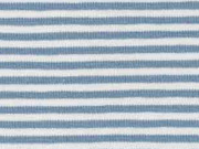 Jerseystoff Streifen 3 mm, graublau weiß