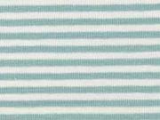 RESTSTÜCK 28 cm Jersey Streifen 3 mm, altmint weiß
