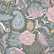 Jerseystoff Paisley Blumen Digitaldruck, altrosa grau