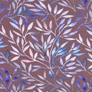 Jerseystoff Zweige, blau altrosa mattes braun