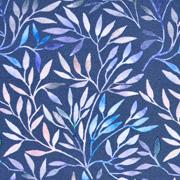 Jerseystoff Zweige, blau altrosa jeansblau