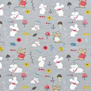 Jerseystoff kleine Mäuse Pilze, rot weiß grau