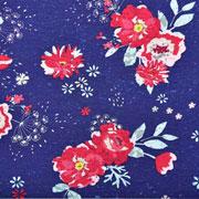 Jerseystoff Blumen Blätter, altrosa dunkelblau