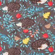 Sweatstoff Igel Äpfel Zweige, braun