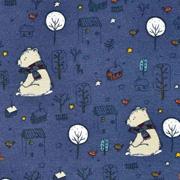 Sweatstoff Bär mit Schal Bäume Häuser, dunkelblau