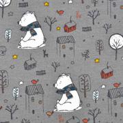 Sweatstoff Bär mit Schal Bäume Häuser, dunkelgrau