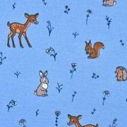 Sweatstoff Rehe Hasen Eichhörnchen, kräftiges hellblau
