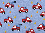 Sweatstoff Alpenfleece Feuerwehr, rot jeansblau meliert
