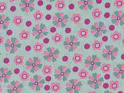 Baumwollstoff Blümchen, rosa mint
