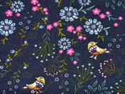 Sweatstoff Alpenfleece Blumen Vögel Jeanslook, pink dunkelblau
