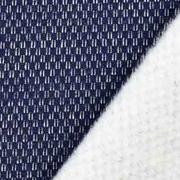 Jacquard Sweatstoff Drizzle Kästchenmuster, weiß dunkelblau