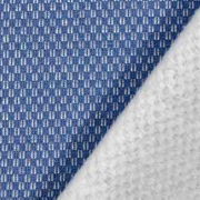 Sweatstoff Jacquard Drizzle Kästchenmuster, weiß jeansblau