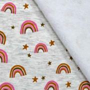 Sweatstoff Alpenfleece Regenbogen, altrosa braun grau meliert