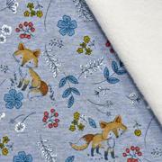 Sweatstoff Alpenfleece Füchse Blumen Zweige,jeansblau meliert