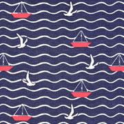 Jerseystoff Segelboote Möwen Wellen, weiß rot dunkelblau