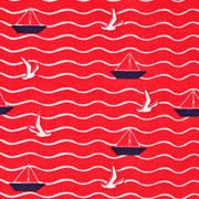 Jerseystoff Segelboote Möwen Wellen, weiß dunkelblau rot