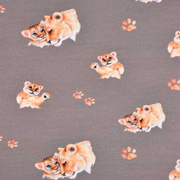 Jerseystoff Löwen Paar Digitaldruck, orangebraun taupe