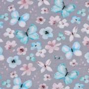 Jerseystoff Schmetterlinge Blumen Digitaldruck, mint grau