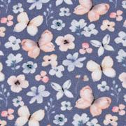 Jerseystoff Schmetterlinge Blumen Digitaldruck, hellrosa dunkeljeansblau