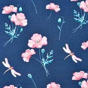 Jerseystoff Blumen Libellen Digitaldruck, dunkelblau
