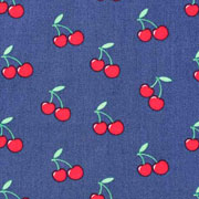 Baumwollstoff Kirschen, dunkles jeansblau