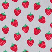 Baumwollstoff Erdbeeren, hellgrau