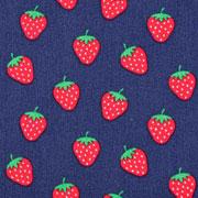 Baumwollstoff Erdbeeren, dunkelblau