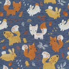 Sweatstoff Füchse Hasen, jeansblau