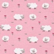 Jerseystoff Schafe Blumen, altrosa