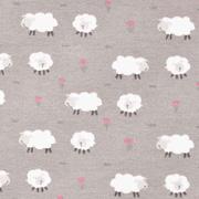 Jerseystoff Schafe Blumen, dunkelbeige