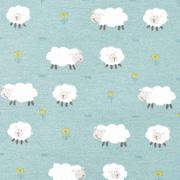 Jerseystoff Schafe Blumen, mint