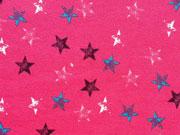 RESTSTÜCK 40 cm Sweatstoff Sterne Stempeldruck, pink