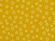 Baumwollstoff kleine Sterne als Kontur, weiß ocker