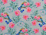 Softshell Stoff Vögel Rosen Blätter Zweige, pink mint