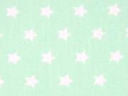 RESTSTÜCK 65 cm BW Sterne 1 cm, weiss auf mint