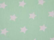 Baumwolle Sterne 2 cm, weiss auf mint
