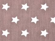 Baumwolle Sterne 2 cm, weiss auf schokobraun