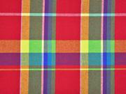 RESTSTÜCK 62 CM Baumwolle Madras Karo, rot gelb blau