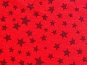 Jersey verschiedene Sterne, weinrot auf rot